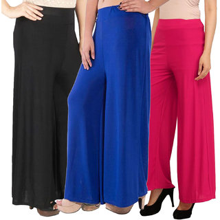 Pixie's Stylish Casual Wear Pant Palazzo Combo (Pack of 3) Black, Blue and Pink - Free Size