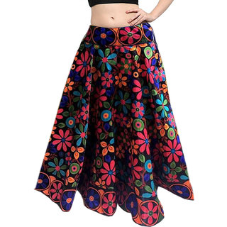1eb4d21c1c613e Mira Creation Benglory Satin Multi Color Semi Stitched Designer Skirts For  Girls Womens (Size Free)