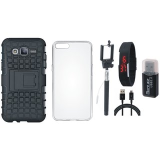 Oppo F7 Shockproof Kick Stand Defender Back Cover with Memory Card Reader, Silicon Back Cover, Selfie Stick, Digtal Watch and USB Cable