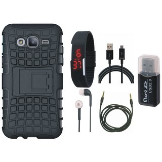 Vivo Y55s Defender Tough Armour Shockproof Cover with Memory Card Reader, Digital Watch, Earphones, USB Cable and AUX Cable