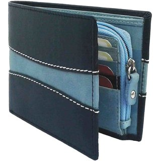 Nukaichau Bifold Black Sky Blue Men Leather wallet