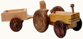 BuzyKart Beautiful Wooden Tractor Trolley Moving Toy
