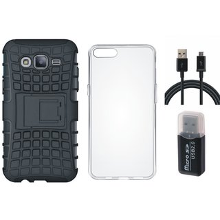 Vivo V7 Plus Shockproof Tough Armour Defender Case with Memory Card Reader, Silicon Back Cover, USB Cable