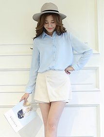 Fabrange Sky Blue Elegant Ladies Formal Office Shirt