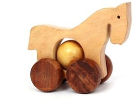 BuzyKart Wooden Beautiful Toy Horse With Wheels - For Kids  Home Decor