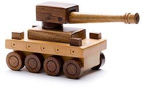 BuzyKart Beautiful Wooden Vintage War Tank Toy Cum Showpiece