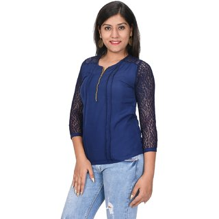 a025ea2f8ff012 Bronze Stylish Women Top To Pair With Jeans For Office Casual Wear Blue Top  For