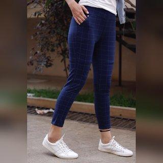 Best Seller Imported Blue Check's Stretchable Pants / Jeggings /Gym Wear /Yoga Wear /Casual Wear /Sport's Wear