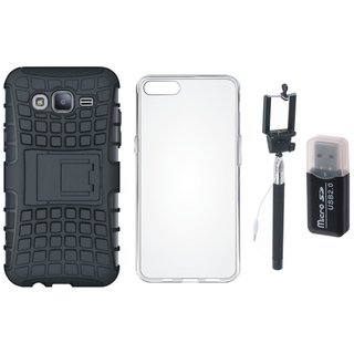 Samsung J5 2016 Version J510 Shockproof Tough Defender Cover with Memory Card Reader, Silicon Back Cover, Free Silicon Back Cover and Selfie Stick