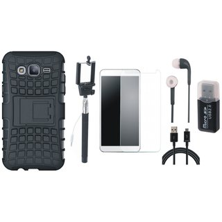 Vivo V5 Plus Defender Back Cover with Kick Stand with Memory Card Reader, Free Selfie Stick, Tempered Glass, Earphones and USB Cable