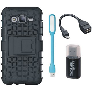 Moto C Plus Defender Back Cover with Kick Stand with Memory Card Reader, USB LED Light and OTG Cable