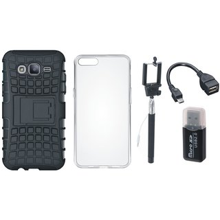 Moto C Plus Defender Back Cover with Kick Stand with Memory Card Reader, Silicon Back Cover, Selfie Stick and OTG Cable