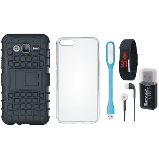 Moto C Plus Defender Back Cover with Kick Stand with Memory Card Reader, Silicon Back Cover, Digital Watch, Earphones and USB LED Light