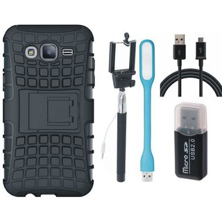 Moto C Plus Shockproof Tough Defender Cover with Memory Card Reader, Selfie Stick, USB LED Light and USB Cable