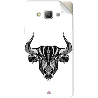 Snooky Printed Bull Pvc Vinyl Mobile Skin Sticker For Samsung Galaxy E7