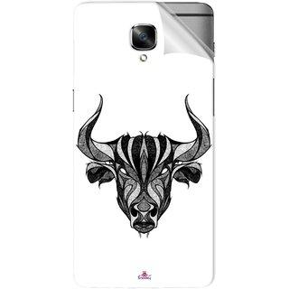 Snooky Printed Bull Pvc Vinyl Mobile Skin Sticker For OnePlus 3