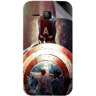 Snooky Printed Captain American Shield Pvc Vinyl Mobile Skin Sticker For Micromax Bolt S301