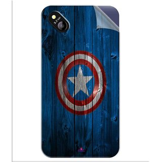 Snooky Printed Captain America Logo Pvc Vinyl Mobile Skin Sticker For Micromax Bolt D303