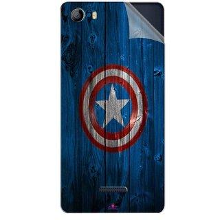 Snooky Printed Captain America Logo Pvc Vinyl Mobile Skin Sticker For Micromax Canvas 5 E481