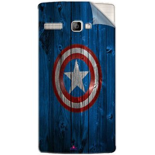 Snooky Printed Captain America Logo Pvc Vinyl Mobile Skin Sticker For Intex Aqua 3G Strong