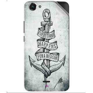 Snooky Printed everything happens for a reason Pvc Vinyl Mobile Skin Sticker For Micromax Bolt Q338