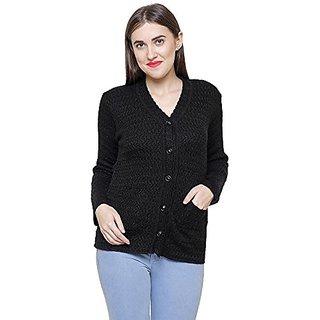 Matelco Woollen Black Buttoned Cardigans