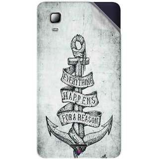 Snooky Printed everything happens for a reason Pvc Vinyl Mobile Skin Sticker For Micromax Canvas Doodle 3 A102