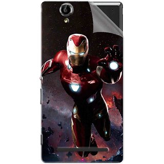 Snooky Printed Flying Iron Man Pvc Vinyl Mobile Skin Sticker For Sony Xperia T2 Ultra