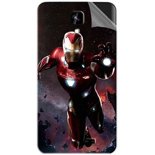 Snooky Printed Flying Iron Man Pvc Vinyl Mobile Skin Sticker For Intex Aqua Y2 1G