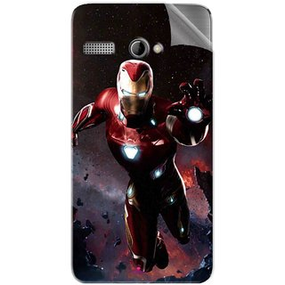 Snooky Printed Flying Iron Man Pvc Vinyl Mobile Skin Sticker For Intex Aqua 3G Pro
