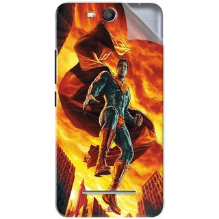 Snooky Printed Flying Super Man Pvc Vinyl Mobile Skin Sticker For Micromax Bolt Q392