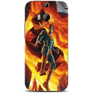 Snooky Printed Flying Super Man Pvc Vinyl Mobile Skin Sticker For Htc One M8