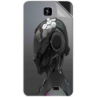 Snooky Printed Futuristic Helmet Pvc Vinyl Mobile Skin Sticker For Intex Aqua Y2 1G