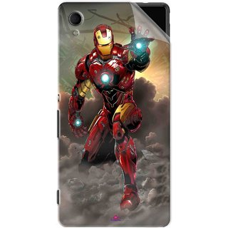 Snooky Printed Iron Man Power Pvc Vinyl Mobile Skin Sticker For Sony Xperia M4