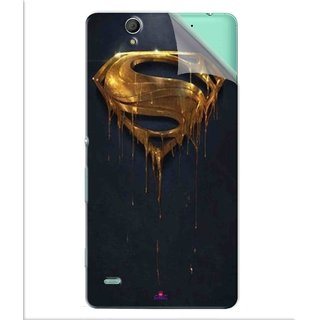 Snooky Printed Gold Super Man Pvc Vinyl Mobile Skin Sticker For Sony Xperia C4