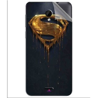 Snooky Printed Gold Super Man Pvc Vinyl Mobile Skin Sticker For Intex Aqua Q7