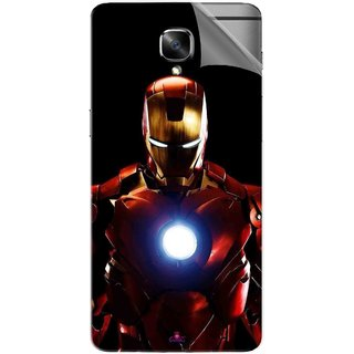 Snooky Printed Iron Man Heart Pvc Vinyl Mobile Skin Sticker For OnePlus 3