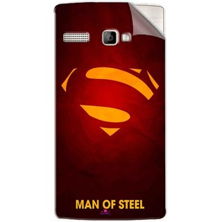 Snooky Printed Man Of Steel Supper Man Pvc Vinyl Mobile Skin Sticker For Intex Aqua 3G Strong
