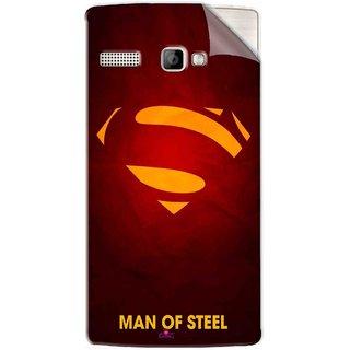 Snooky Printed Man Of Steel Supper Man Pvc Vinyl Mobile Skin Sticker For Intex Aqua 3G Strong