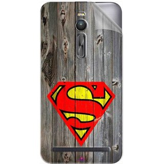 Snooky Printed Wood Super man Pvc Vinyl Mobile Skin Sticker For Asus Zenfone 2 ZE551ML