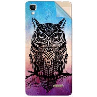 Snooky Printed warrior owl Pvc Vinyl Mobile Skin Sticker For Oppo R7