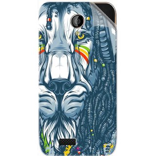 Snooky Printed Rasta Lion Pvc Vinyl Mobile Skin Sticker For LYF Flame 6