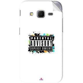 Snooky Printed Parental Advisory Pvc Vinyl Mobile Skin Sticker For Samsung Galaxy Core Prime