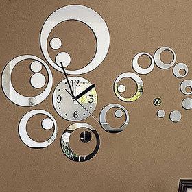 DIY Wall Clock 3D Sticker Home Office Decor 3D Wall Clock (Covering Area4556cm) - 0434S