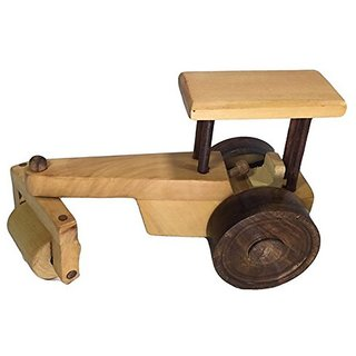 BuzyKart Beautiful Wooden Classical Road Roller Toy Cum Showpiece