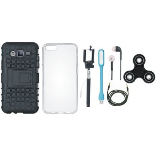 Samsung J5 Prime Defender Tough Armour Shockproof Cover with Spinner, Silicon Back Cover, Selfie Stick, Earphones, USB LED Light and AUX Cable