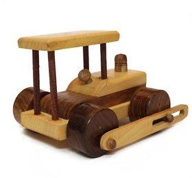 BuzyKart Beautiful Wooden Classical Side Wheel Road Roller Toy Cum Showpiece