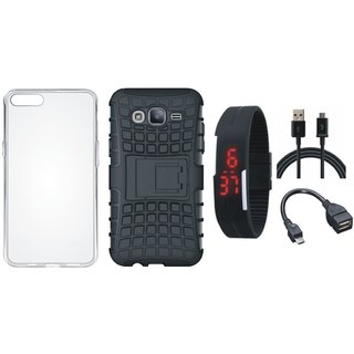 Moto G5 Shockproof Tough Defender Cover with Silicon Back Cover, Digital Watch, OTG Cable and USB Cable