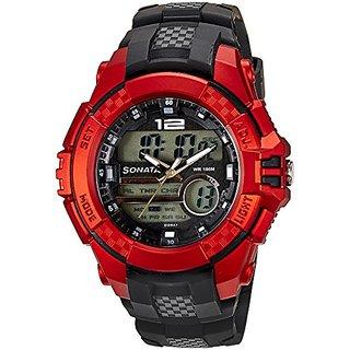 Sonata Analog-Digital Multi Round Watch -77027PP03