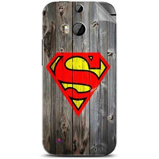 Snooky Printed Wood Super man Pvc Vinyl Mobile Skin Sticker For Htc One M8